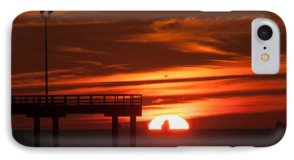 Sun Ship And Pier IPhone Case by Richard Mason