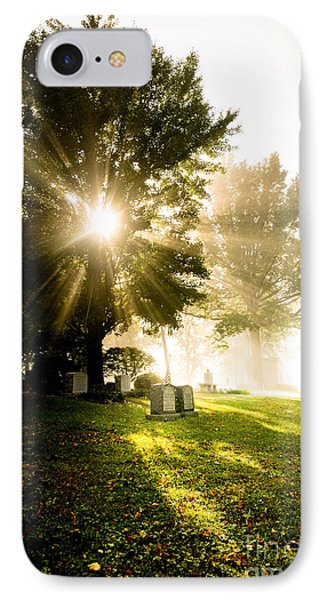 Sunburst Over Cemetery Phone Case by Amy Cicconi