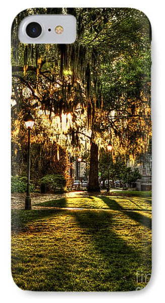 Sundown On Johnson Square In Savannah IPhone Case