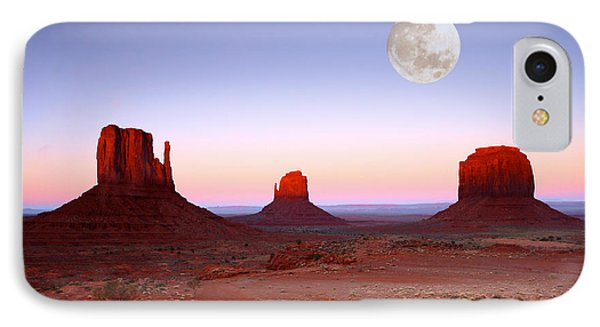 Sundown On The Buttes In Monument Valley Arizona Phone Case by Katrina Brown