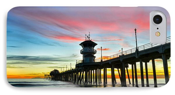Sunet At Huntington Beach Pier IPhone Case by Peter Dang