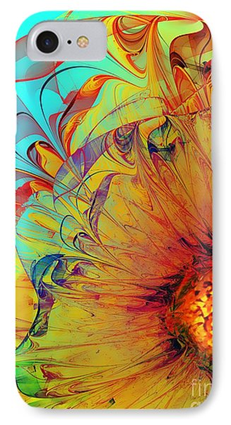 Sunflower Abstract IPhone Case by Klara Acel