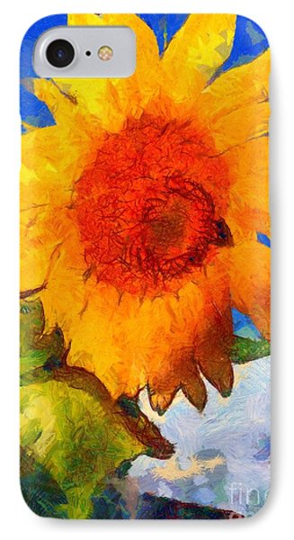 Sunflower - Bee Happy IPhone Case by Janine Riley
