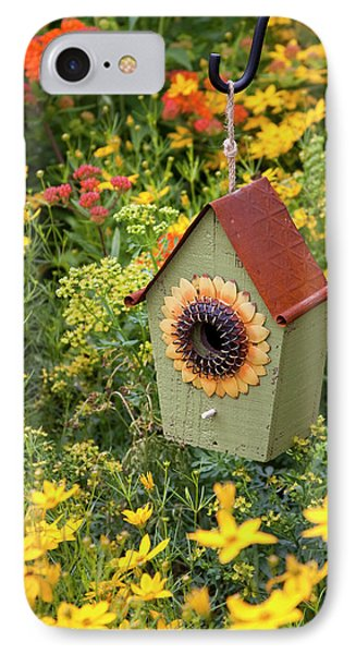 Sunflower Birdhouse In Garden IPhone Case by Richard and Susan Day