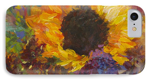 Sunflower Dance Original Painting Impressionist IPhone Case by Quin Sweetman