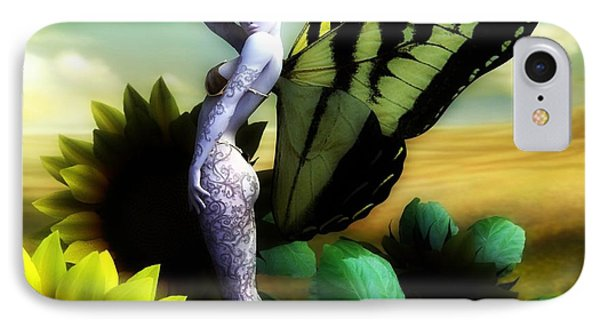 IPhone Case featuring the digital art Sunflower Fairy by Sandra Bauser Digital Art
