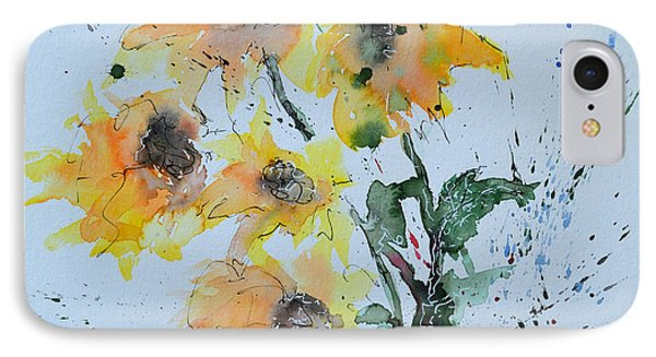 Sunflower- Flower Painting Phone Case by Ismeta Gruenwald