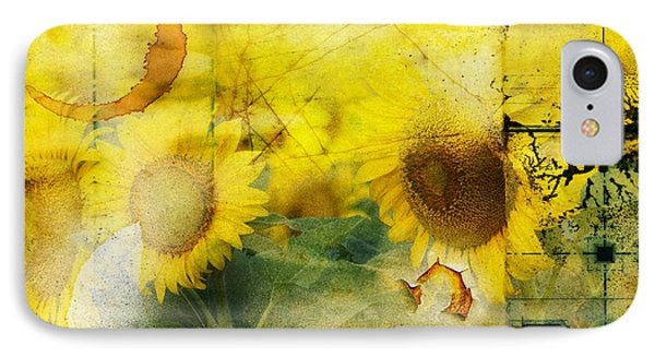 IPhone Case featuring the photograph Sunflower Grunge by Kathy Churchman