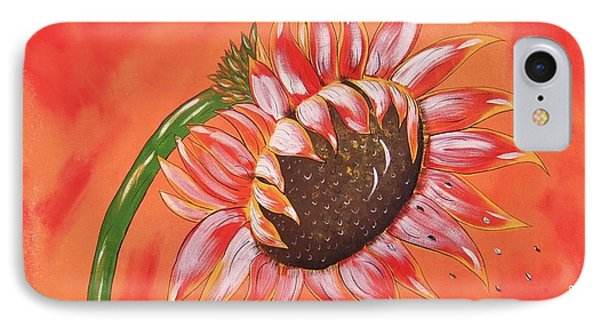 IPhone Case featuring the painting Sunflower In Fall by Cindy Micklos
