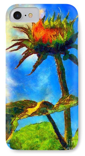 Sunflower - It's A Glorious Day She Said. IPhone Case by Janine Riley