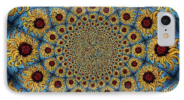 Sunflower Kaleidoscope Mandela Phone Case by Genevieve Esson