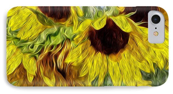 Sunflower Morn  IPhone Case by Ecinja Art Works