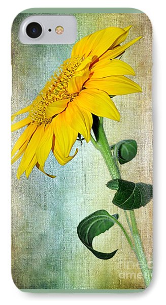 Sunflower On Textured Canvas Phone Case by Kaye Menner