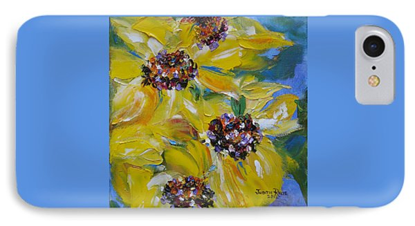IPhone Case featuring the painting Sunflower Quartet by Judith Rhue