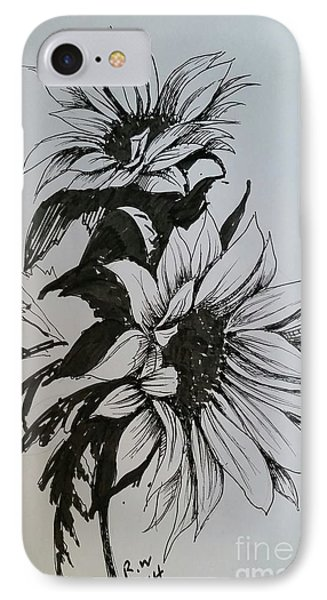 IPhone Case featuring the drawing Sunflower by Rose Wang