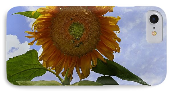 Sunflower With Busy Bees Phone Case by Chris Flees