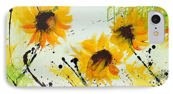 Sunflowers - Abstract Painting Phone Case by Ismeta Gruenwald