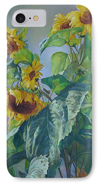 IPhone Case featuring the painting Sunflowers After The Rain by Svitozar Nenyuk
