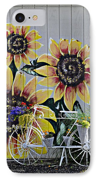 Sunflowers And Bicycle IPhone Case by Kenny Francis