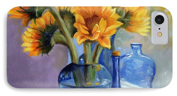 Sunflowers And Blue Bottles IPhone Case