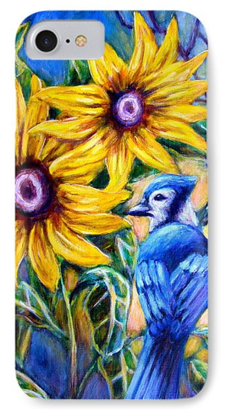 Sunflowers And Blue Jay IPhone Case