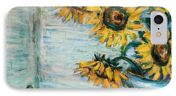 Sunflowers And Frog IPhone Case by Xueling Zou