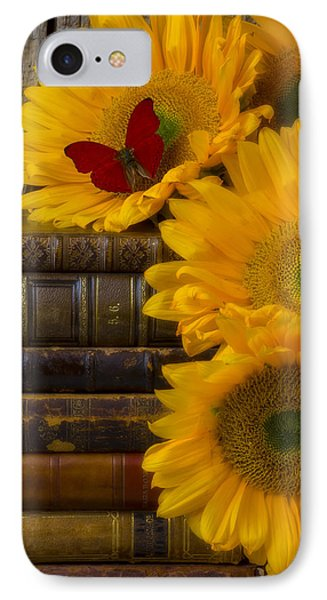 Sunflowers And Old Books Phone Case by Garry Gay