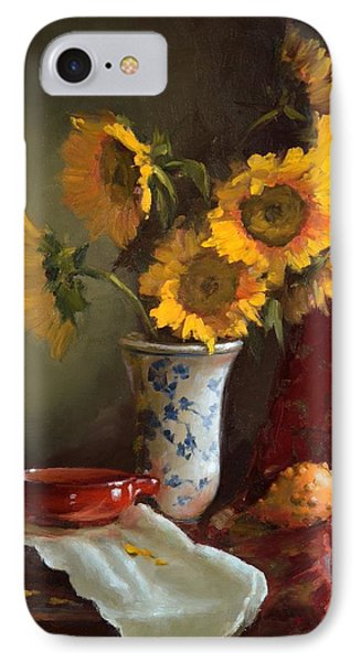 Sunflowers And Red Saucer IPhone Case
