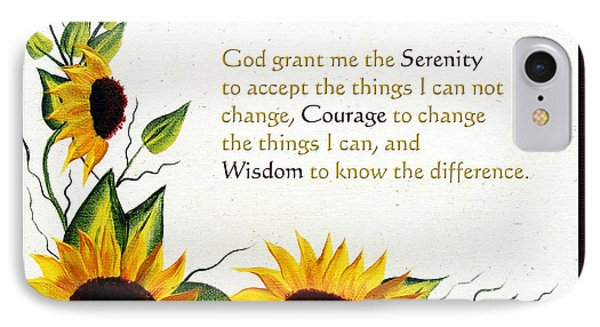 Sunflowers And Serenity Prayer IPhone Case by Barbara Griffin