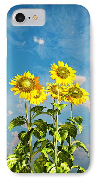 IPhone Case featuring the digital art Sunflowers And The Sky... by Tim Fillingim