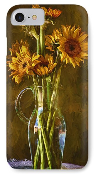 Sunflowers And Vase IPhone Case by John Rivera