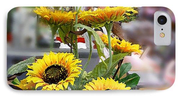 Sunflowers At The Market Florence Italy IPhone Case by Irina Sztukowski