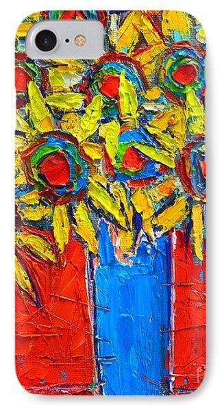 Sunflowers Bouquet In Blue Vase Phone Case by Ana Maria Edulescu