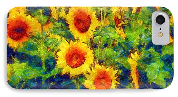 Sunflowers Dance In A Field IPhone Case by Janine Riley