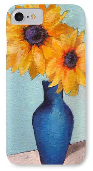 Sunflowers In A Blue Vase Phone Case by Venus