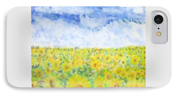 Sunflowers In A Field In  Texas IPhone Case