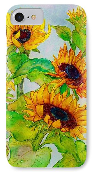 Sunflowers In A Field IPhone Case by Janet Immordino