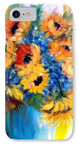 IPhone Case featuring the painting Sunflowers In A Vase by Dorothy Maier