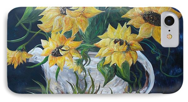 Sunflowers In An Antique Country Pot Phone Case by Eloise Schneider