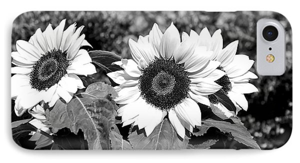 Sunflowers In Black And White Phone Case by Kaye Menner