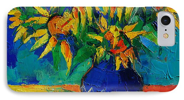 Sunflowers In Blue Vase IPhone Case by Mona Edulesco