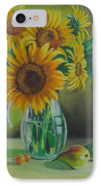 IPhone Case featuring the painting Sunflowers In Glass Jug by Nina Mitkova