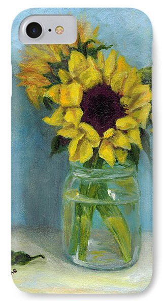 IPhone Case featuring the painting Sunflowers In Mason Jar by Sandra Nardone