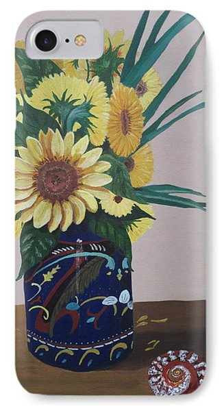 IPhone Case featuring the painting Sunflowers In Vase With Seashell by Hilda and Jose Garrancho