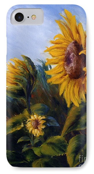 IPhone Case featuring the painting Sunflowers On Green Hill Under Blue Sky by Lenora  De Lude