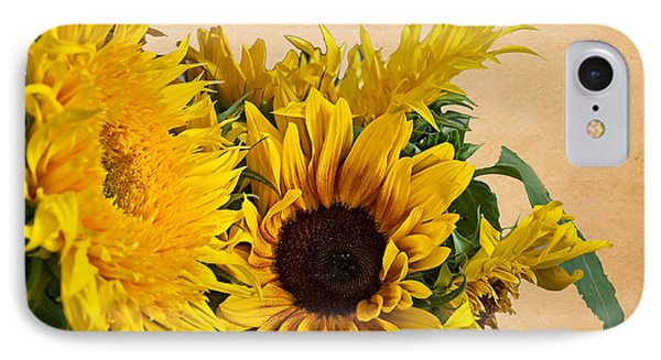 Sunflowers On Old Paper Background Art Prints IPhone Case by Valerie Garner