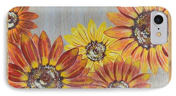 Sunflowers On Wood Panel II Phone Case by Elizabeth Golden