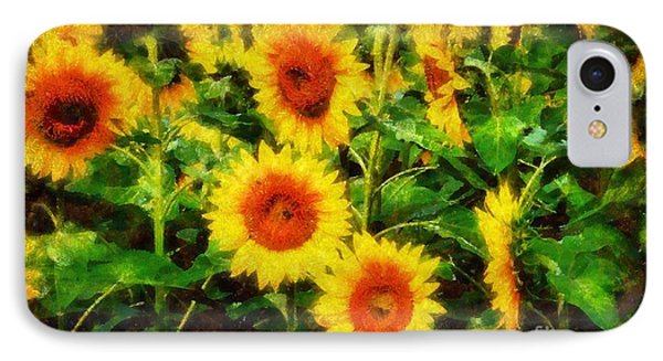 Sunflowers Parade In A Field IPhone Case by Janine Riley