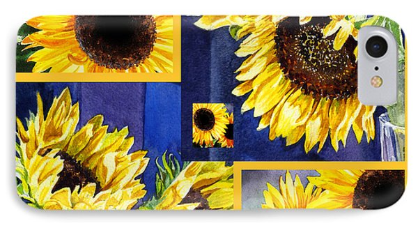 IPhone 7 Case featuring the painting Sunflowers Sunny Collage by Irina Sztukowski