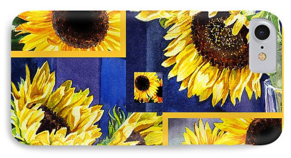 IPhone Case featuring the painting Sunflowers Sunny Collage by Irina Sztukowski